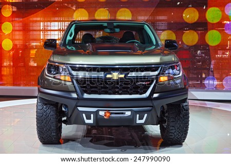 DETROIT - JANUARY 12: The Motor Trend truck of the year Chevy Colorado truck on display January 12th, 2015 at the 2015 North American International Auto Show in Detroit, Michigan. - stock photo