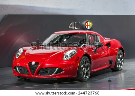 DETROIT - JANUARY 15: The new Alfa Romeo 4C on display January 13th, 2015 at the 2015 North American International Auto Show in Detroit, Michigan. - stock photo