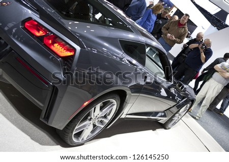 DETROIT - JANUARY 27 :The new 2014 Chevrolet Corvette stringray C7 at The North American International Auto Show January 27, 2013 in Detroit, Michigan. - stock photo