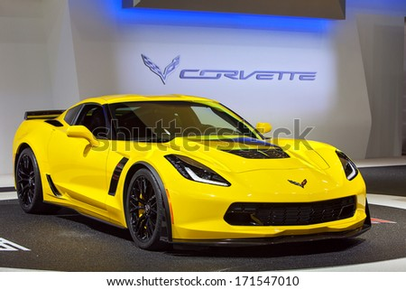 DETROIT - JANUARY 14 : The new Chevy Corvette Z06 on display at the North American International Auto Show media preview  January 14, 2014 in Detroit, Michigan. - stock photo