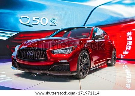 DETROIT - JANUARY 13 : The new Infinity Q50S on display at the North American International Auto Show media preview  January 13, 2014 in Detroit, Michigan. - stock photo