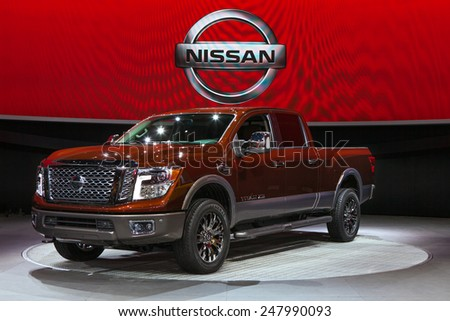DETROIT - JANUARY 12: The new Nissan Titan truck on display January 12th, 2015 at the 2015 North American International Auto Show in Detroit, Michigan.