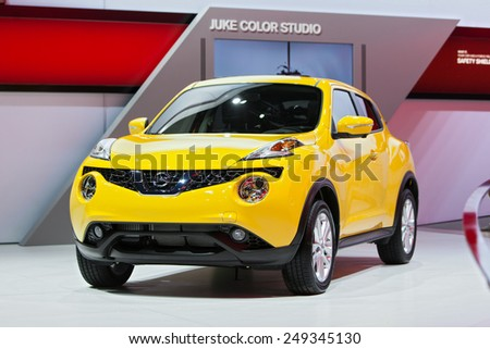 DETROIT - JANUARY 15: The Nissan Juke on display January 15th, 2015 at the 2015 North American International Auto Show in Detroit, Michigan. - stock photo