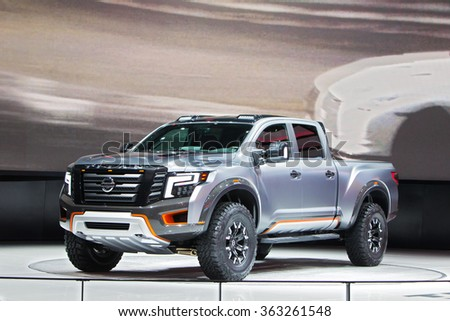 DETROIT - JANUARY 13: The Nissan Titan Warrior Concept on display at the North American International Auto Show media preview January 13, 2016 in Detroit, Michigan.