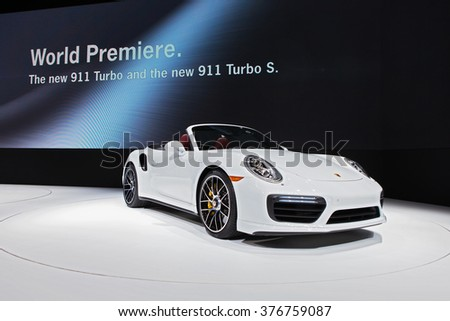 DETROIT - JANUARY 11: The Porsche 911 Turbo on display at the North American International Auto Show media preview January 11, 2016 in Detroit, Michigan.