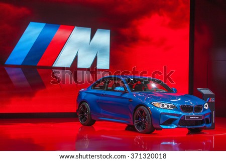 DETROIT - JANUARY 14: The premiere of the BMW M2 Coupe at the North American International Auto Show media preview January 14, 2016 in Detroit, Michigan.