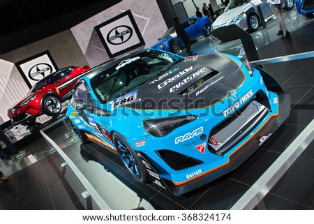 DETROIT - JANUARY 12: The Scion FRS race car on display at the North American International Auto Show media preview January 12, 2016 in Detroit, Michigan. - stock photo