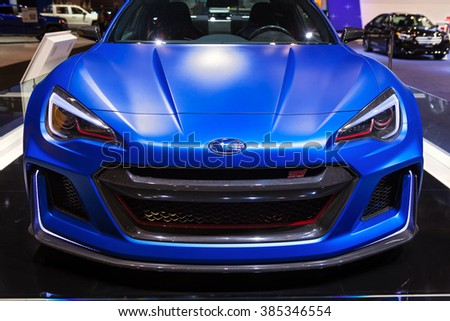 DETROIT - JANUARY 13: The Subaru STi Performance concept on display at the North American International Auto Show media preview January 13, 2016 in Detroit, Michigan. - stock photo