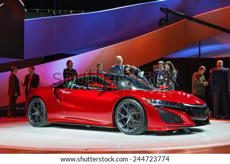 DETROIT - JANUARY 12: The The world premiere of the Acura NSX  January 12th, 2015 at the 2015 North American International Auto Show in Detroit, Michigan. - stock photo
