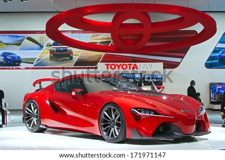 DETROIT   JANUARY 16 : The Toyota FT 1 Concept On Display At The North
