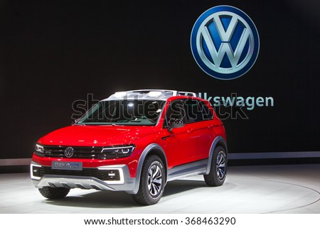 DETROIT - JANUARY 12: The Volkswagen Tiguan GTE Concept on display at the North American International Auto Show media preview January 12, 2016 in Detroit, Michigan.