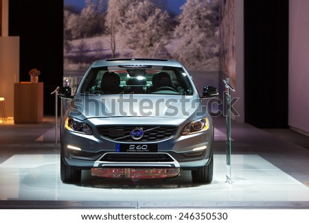 DETROIT - JANUARY 15: The Volvo S60 Cross Country on display January 15th, 2015 at the 2015 North American International Auto Show in Detroit, Michigan. - stock photo