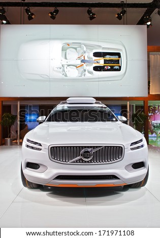 DETROIT - JANUARY 13 : The Volvo XC concept on display at the North American International Auto Show media preview  January 13, 2014 in Detroit, Michigan. - stock photo