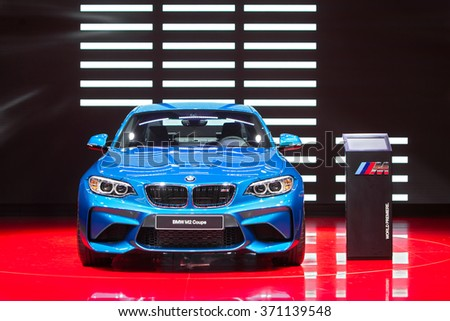 DETROIT - JANUARY 12: The World premiere of the BMW M2 Coupe on display at the North American International Auto Show media preview January 12, 2016 in Detroit, Michigan. - stock photo