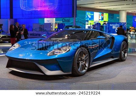 DETROIT - JANUARY 12: The world premiere of the new Ford GT supercar January 12th, 2015 at the 2015 North American International Auto Show in Detroit, Michigan. - stock photo