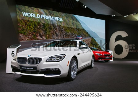 DETROIT - JANUARY 13: World premiere of the BMW 6 series on January 13th, 2015 at the 2015 North American International Auto Show in Detroit, Michigan. - stock photo