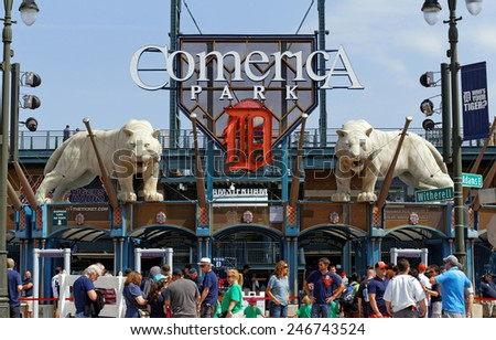DETROIT - JULY 31: Fans prepare to enter Comerica Park located in Detroit, Michigan on July 31, 2014. Comerica Park is a MLB ballpark and home to the Detroit Tigers baseball team. - stock photo