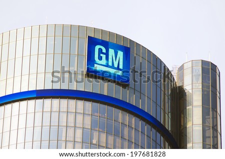 Detroit May 6, 2014: General Motors Building, GM Headquarters, Renaissance Center, May 6, 2014, Downtown Detroit.