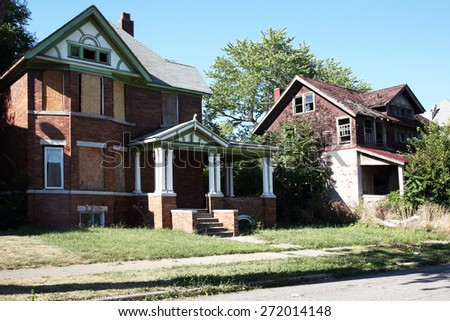DETROIT, MI-CIRCA JANUARY 2015: Abandoned homes in Detroit are being torn down at a faster rate due to a Federal grant for demolition.  - stock photo