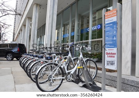 DETROIT, MI - DECEMBER 24: Zagster bikes, available to employees of Dan Gilbert companies, are located near Campus Martius park in downtown Detroit, MI, on December 24, 2015.  - stock photo