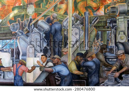 DETROIT, MI - JANUARY, 2015: Diego Rivera mural of an automotive assembly line at the Detroit Institute of Arts.   - stock photo