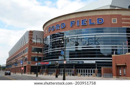 DETROIT, MI - JULY 6: Ford Field, shown here on July 6, 2014, is home of the Detroit Lions football team.  - stock photo