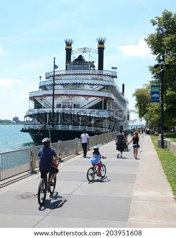 DETROIT, MI - JULY 6: The Detroit Princess riverboat in Detroit, MI, shown here on July 6, 2014, can host up to 1800 passengers on party cruises. - stock photo