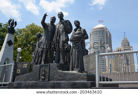 DETROIT, MI - JULY 6: The Gateway to Freedom International Memorial,  in Hart Plaza, Detroit, is shown here on July 6, 2014. Detroit played a critical role in the Underground Railroad.  - stock photo