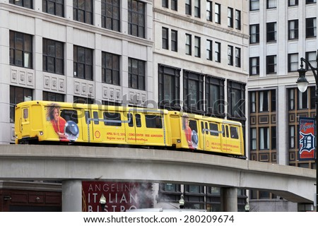 DETROIT, MI-MAY, 2015:  Detroit People Mover, an above ground subway with a Detroit Tigers logo on the side of the car.   - stock photo