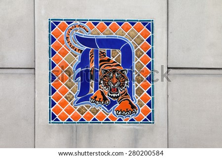 DETROIT, MI-MAY 2015:  Detroit Tigers professional baseball league logo featured in mosaic tile near the entrance to Comerica Field, home field of the Tigers.   - stock photo