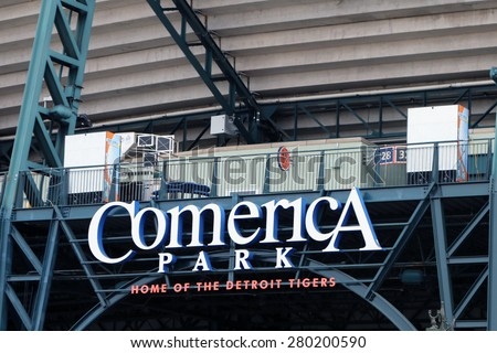 DETROIT, MI-MAY 2015:  Entrance to Comerica Park, new home of the Detroit Tigers.  - stock photo