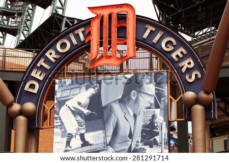 DETROIT, MI-MAY 2015:  Sign above the entrance to Comerica Park, new home of the Detroit Tigers.   - stock photo