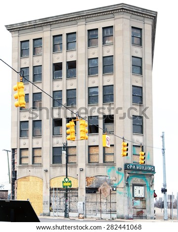 DETROIT, MI-MAY, 2015:  The abandoned CPA (Conductors Protective Association) Building in Detroit. The building was built as a union facility for railroad employees.   - stock photo