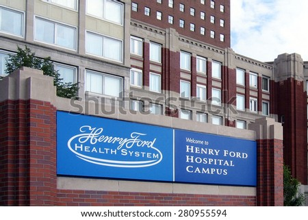 DETROIT, MI-MAY, 2015:  The Henry Ford Health System is one of the largest medical providers in the Detroit area.  This is the original hospital where it was founded by Henry Ford.    - stock photo
