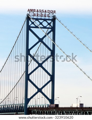 DETROIT, MI-OCTOBER, 2015:  Vertical image of Detroit's Ambassador Bridge, the link between Canada and the USA. - stock photo