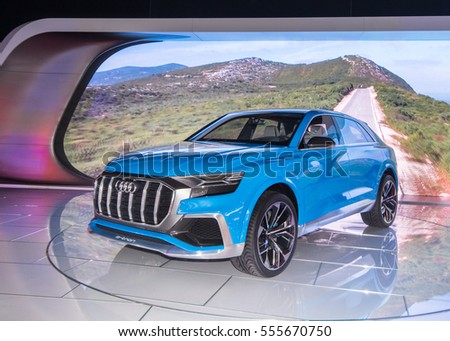 DETROIT, MI/USA - JANUARY 12, 2017: An Audi e-tron Q8 Concept SUV at the North American International Auto Show (NAIAS).