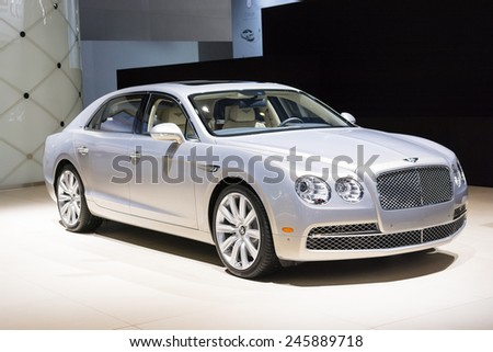 DETROIT, MI, USA - JANUARY 12, 2015: Bentley Flying Spur on display during the 2015 Detroit International Auto Show at the COBO Center in downtown Detroit.