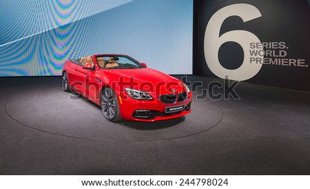 DETROIT, MI/USA - JANUARY 12, 2015: BMW 650i convertible  at the North American International Auto Show (NAIAS), one of the most influential car shows in the world each year. - stock photo