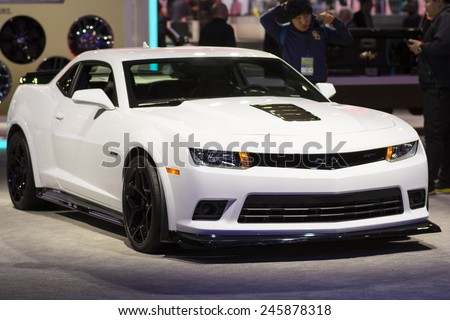 DETROIT, MI, USA - JANUARY 13, 2015: Chevrolet Camaro Z28 on display during the 2015 Detroit International Auto Show at the COBO Center in downtown Detroit. - stock photo