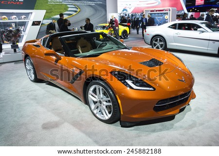 DETROIT, MI, USA - JANUARY 12, 2015: Chevrolet Corvette Stingray on display during the 2015 Detroit International Auto Show at the COBO Center in downtown Detroit. - stock photo