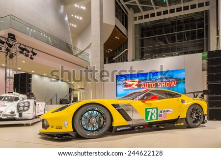 DETROIT, MI/USA - JANUARY 13, 2015:  Chevrolet Corvette Z06 C7.R #73 race car at the North American International Auto Show (NAIAS), one of the most influential car shows in the world each year. - stock photo
