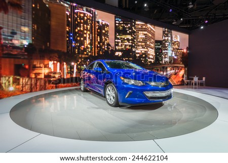 DETROIT, MI/USA - JANUARY 13, 2015: 2016 Chevrolet Volt at the North American International Auto Show (NAIAS), one of the most influential car shows in the world each year. - stock photo