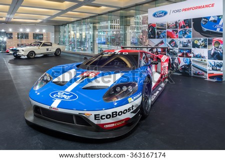 DETROIT, MI/USA - JANUARY 11, 2016: Ford GT #66 Chip Ganassi Racing IMSA racecar at the North American International Auto Show (NAIAS). Driven by Joey Hand and Dirk Mueller - stock photo