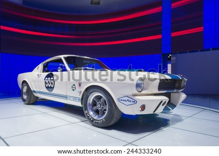DETROIT, MI/USA - JANUARY 14, 2015: 1965 Ford Shelby GT350 R Fastback #535 racecar at the North American International Auto Show (NAIAS). Originally sold to racer Benito Lores. - stock photo