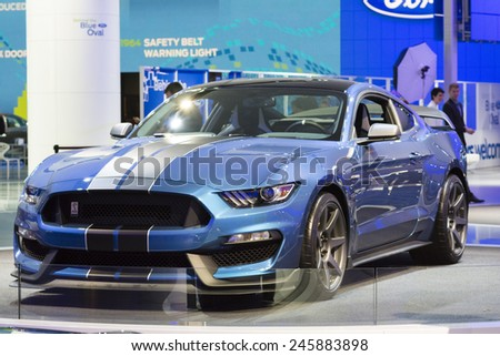 DETROIT, MI, USA - JANUARY 13, 2015: Ford Shelby GT 350 R on display during the 2015 Detroit International Auto Show at the COBO Center in downtown Detroit. - stock photo
