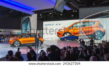 DETROIT, MI/USA - JANUARY 12, 2015: GM CEO Mary Barra / 2016 Chevrolet Bolt EV concept at the North American International Auto Show (NAIAS). - stock photo