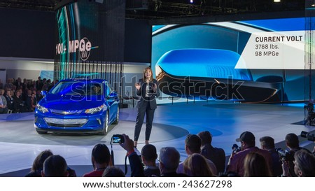DETROIT, MI/USA - JANUARY 12, 2015: GM CEO Mary Barra / 2016 Chevrolet Volt reveal at the North American International Auto Show (NAIAS). - stock photo