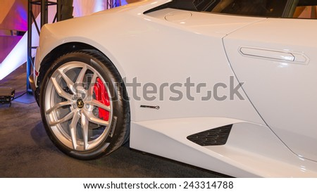 DETROIT, MI/USA - JANUARY 11, 2015: Lamborghini Huracan at The Gallery, an event sponsored by the North American International Auto Show (NAIAS) and the MGM Grand Detroit. - stock photo
