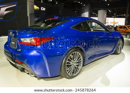 DETROIT, MI, USA - JANUARY 13, 2015: Lexus RC F on display during the 2015 Detroit International Auto Show at the COBO Center in downtown Detroit. - stock photo