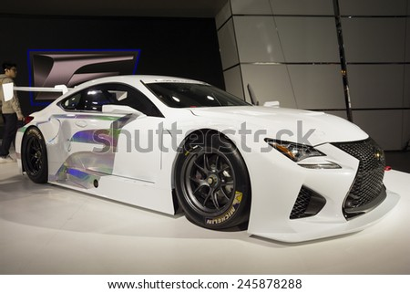 DETROIT, MI, USA - JANUARY 13, 2015: Lexus RC F race car on display during the 2015 Detroit International Auto Show at the COBO Center in downtown Detroit. - stock photo